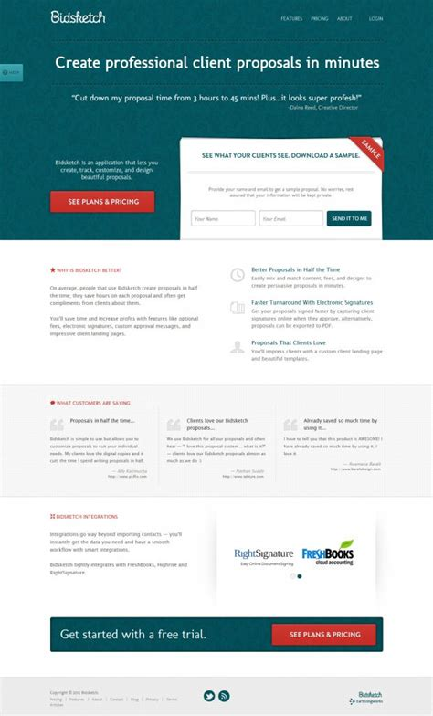 Bid Web Bidsketch Software Webdesign Inspiration Www