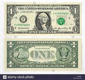 1 U.S. dollar banknote, front and back Stock Photo ...