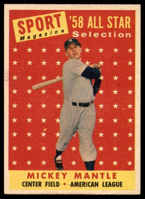 Top 30 most valuable baseball cards. 1958 Topps #487 Mickey Mantle Near Mint Yankees AS TP # ...