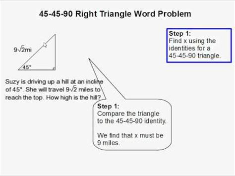 how to solve a 45 45 90 right triangle word problem