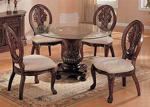 Compass Furniture Tabitha Dark Cherry Glass Top Table W4