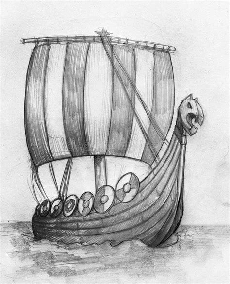 Viking Boat Drawing by Viking Ship Drakkar Sketch Stock Illustration