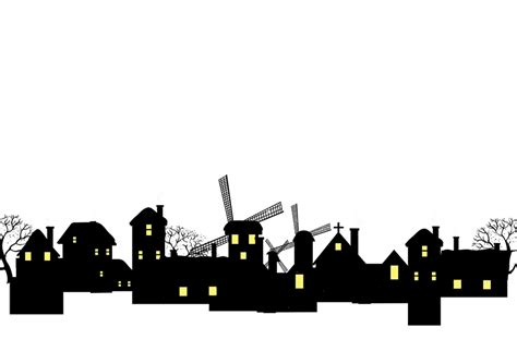 Silhouette House Building - Black brightly lit cabin png ...