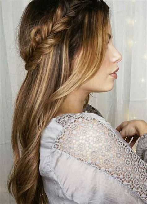 pretty crown braids and hair down wedding hair style idea