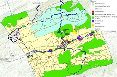 Sinking Borough Zoning Map by Smyth County Geography Of Virginia