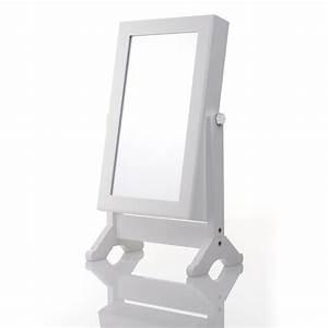 Miroir à Bijoux : armoire bijoux sur pieds avec miroir pivotant 62 cm bois blanc maison fut e ~ Teatrodelosmanantiales.com Idées de Décoration