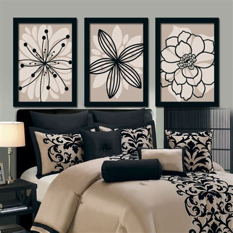 Floral Bathroom Wall Decor Wall Canvas Artwork Brown Beige Black Flower By Trmdesign