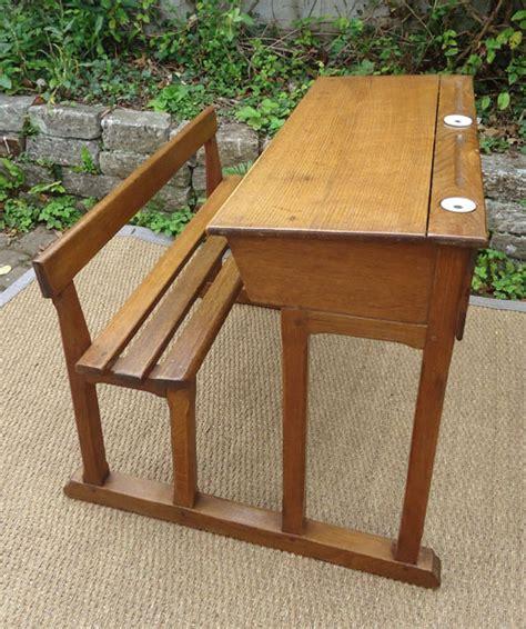 ancienne le de bureau ancien bureau ecolier bois deux places avec encriers en