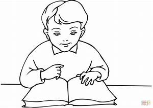 School Boy Reading A Book Coloring Page Free Printable ...