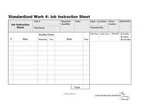 Standard Work Instruction Sheet Template