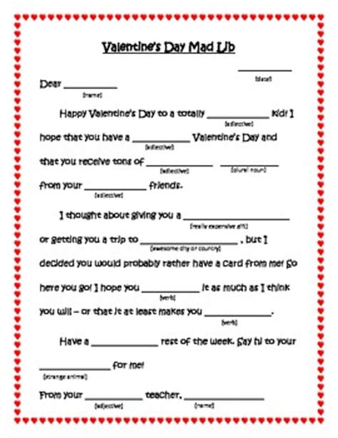 valentines day mad libs  students parts  speech