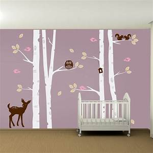 kids nursery birch tree wall decal set owl deer fawn birds With tree wall decals for nursery