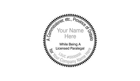 (ontario) Commissioner For Oaths Round Stamp (paralegal