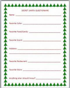 Secret Santa Questionnaire FREEBIE A MUST HAVE if you