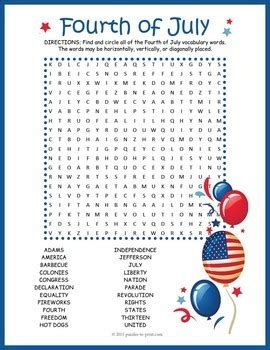 Independence Day Activity - 4th of July Word Search by ...