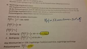Angebotsfunktion Berechnen : minimum der variablen st ckkosten ermitteln 1 3 x 50 0 x 150 mathelounge ~ Themetempest.com Abrechnung