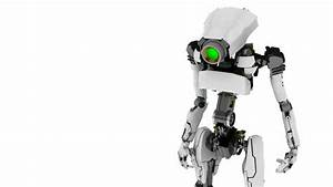 Slim 3d Robot Looking Around Animation Stock Footage Video