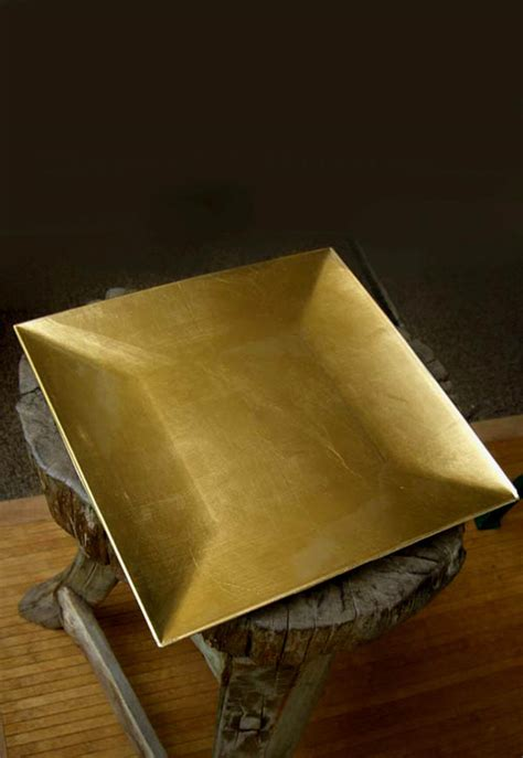 gold lacquered square charger plates