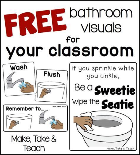 Printable Bathroom Signs For Preschool by Free Bathroom Visuals Make Take Teach