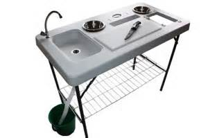 newport delux portable cing table with sink faucet