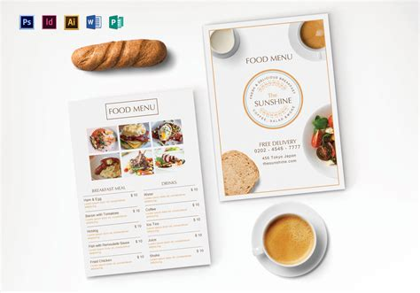 breakfast party menu design template  psd illustrator