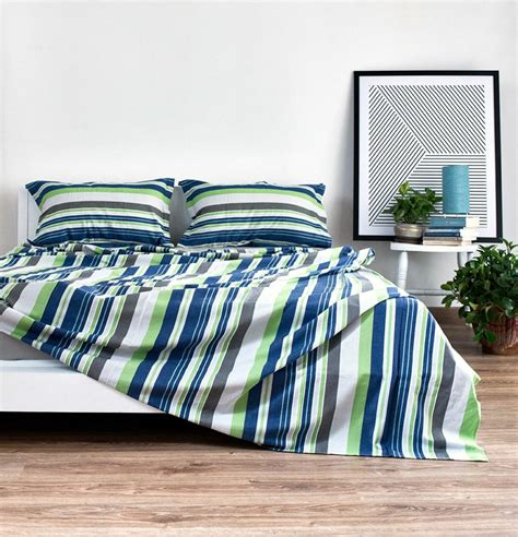 Bed Sheets by Woven Stripes Cotton Bed Sheet Brilliant Green Blue