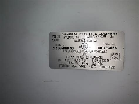 ge monogram refrigerator model number location monogram