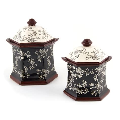 temptations kitchen accessories temp tations 174 floral lace set of 2 canisters temp 2692