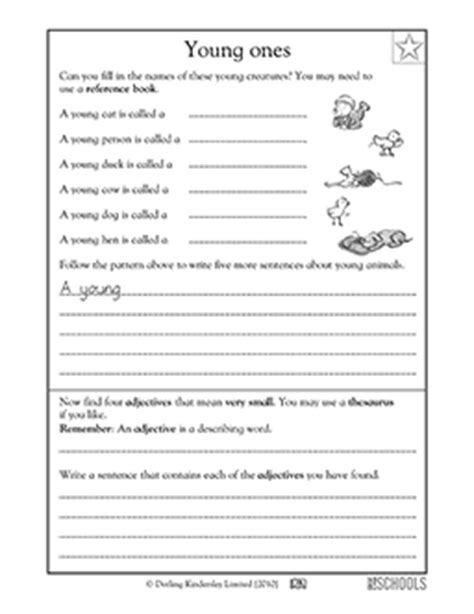3rd grade reading writing worksheets baby animals