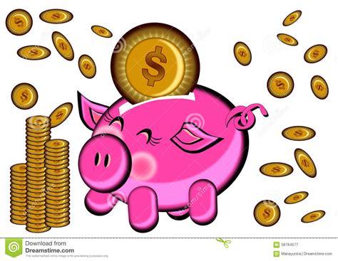 Piggy Bank And Gold Coin Money Rain Cartoon Stock