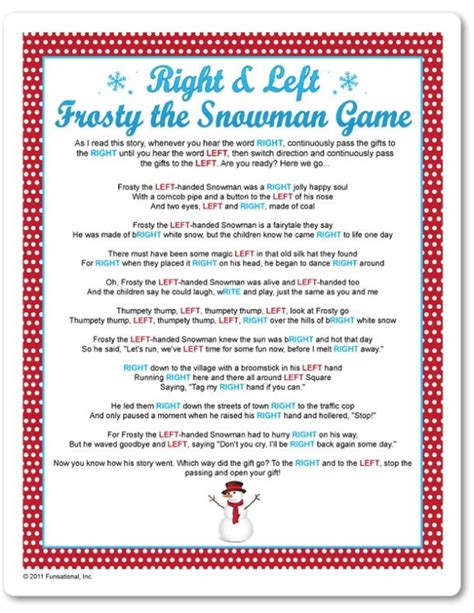 printable right left frosty the snowman game funsational com