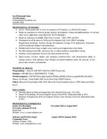 dot net developer resume dot net resume