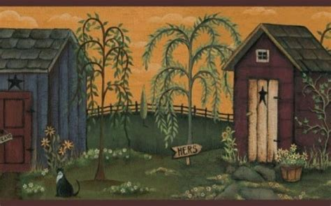 country bath wall border primitive country outhouse wall