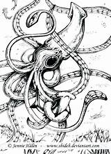 Squid Coloring Kraken Giant Pages Drawing Tattoo Marine Cuttlefish Octopus Sea Corps Squids Colossal Whale Calamar Vs Sperm Gigante Space sketch template