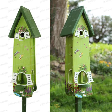 nichoir et mangeoire jardin magique vert oiseaux du jardin