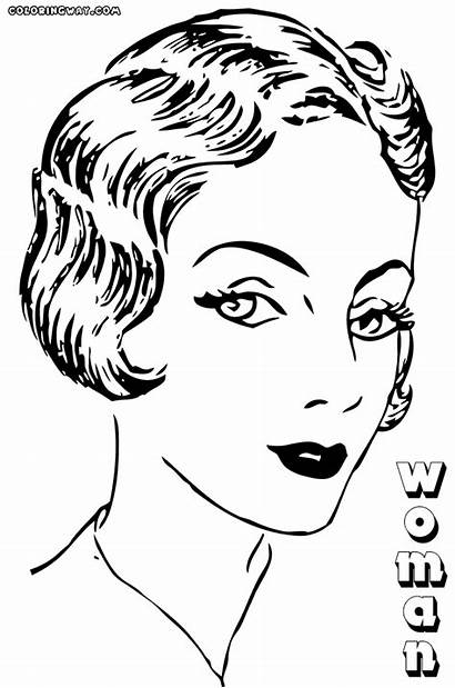Woman Coloring Pages Face Colorings Beauty Coloringway