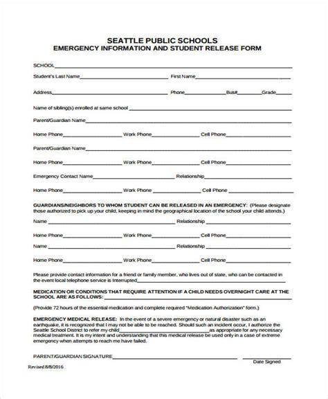 18606 emergency release form 21 emergency release form exle