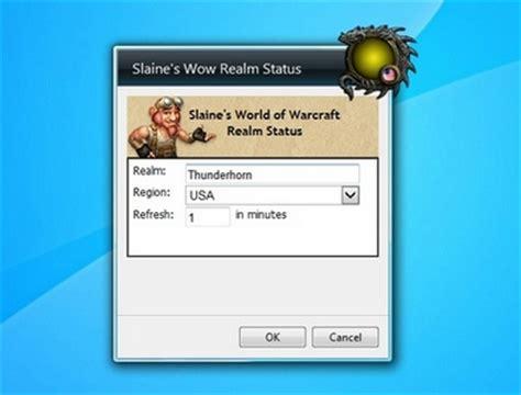 slaines wow realm status  desktop gadgets