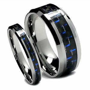 matching wedding band set tungsten rings blue and black With carbon fiber wedding ring set