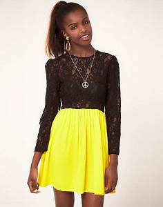 Fairground Lace Top Skater Dress in Yellow (yellowblack) | Lyst