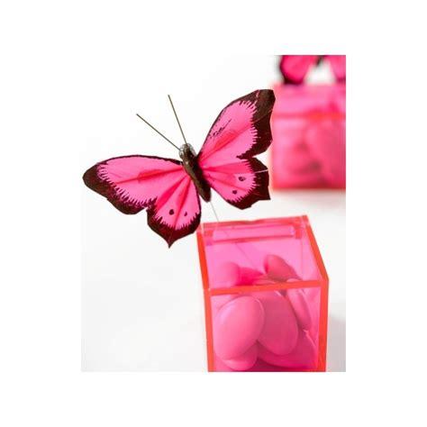 papillon bicolore fushia en plumes sur tige les 6 d 233 co