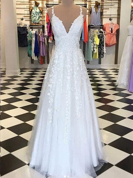 A Line V Neck Floor Length Lace White Long Prom Dresses ...