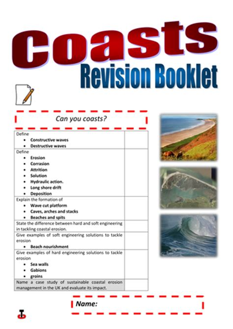 coasts revision booklet and test by sarahwoodhead