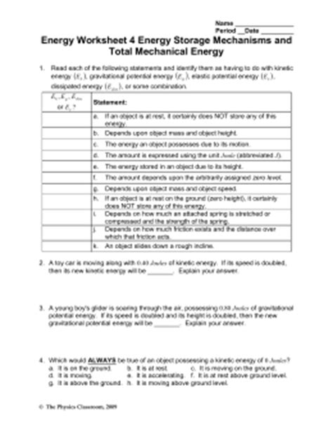 work energy and power worksheet answers physics classroom