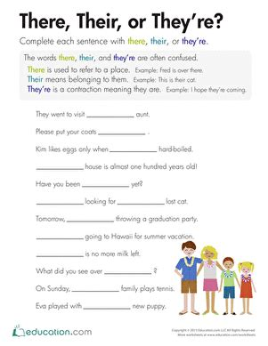 There, Their, Or They're?  Worksheet Educationcom