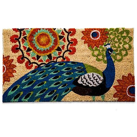 flower doormat floral peacock coir door mat bed bath beyond