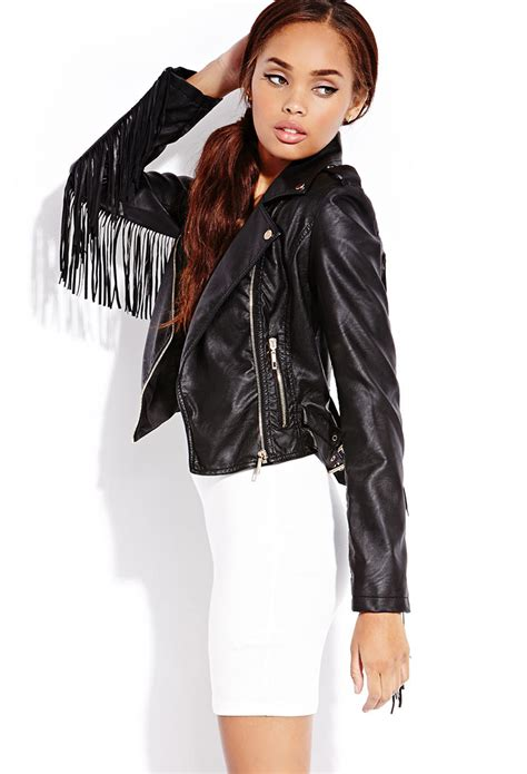 Lyst - Forever 21 Biker Babe Faux Leather Jacket in Black