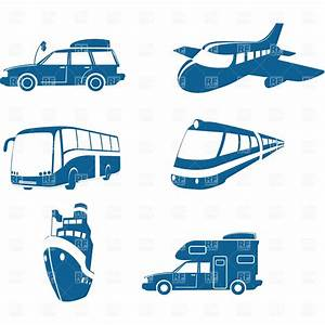 Transport and travel icons, vehicles Royalty Free Vector ...