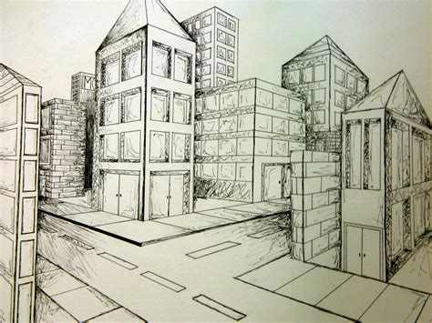 point perspective city art perspective art linear
