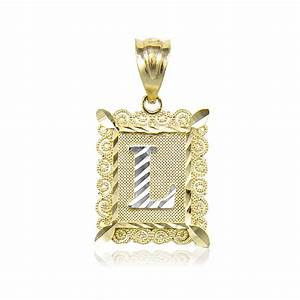 14k solid yellow white gold initial letter plate pendant a z With white gold letter pendant